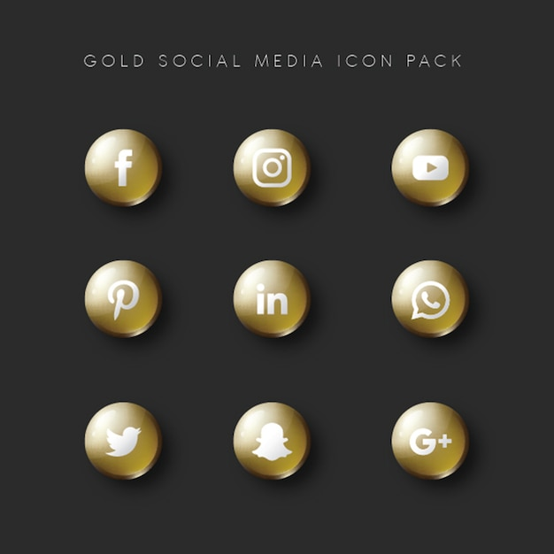 Social media populer icon 9-set goldversion Premium Vektoren