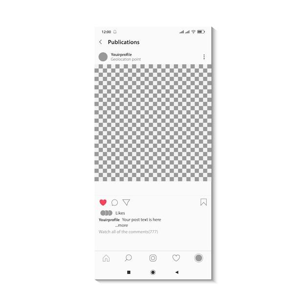 Social-media-post auf dem handy-bildschirm. bearbeitbares konzept für fotorahmen mit quadratischem layout. Premium Vektoren