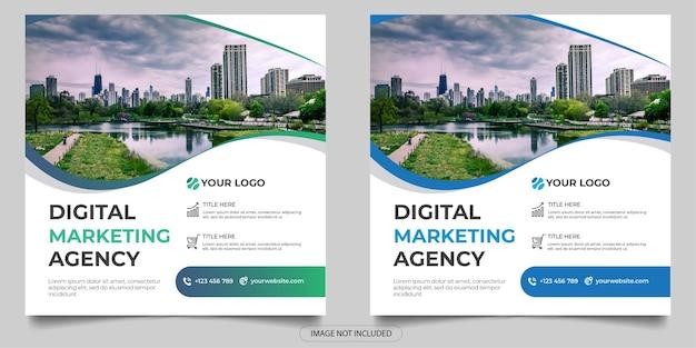 Social-media-post der agentur für digitales marketing Premium Vektoren
