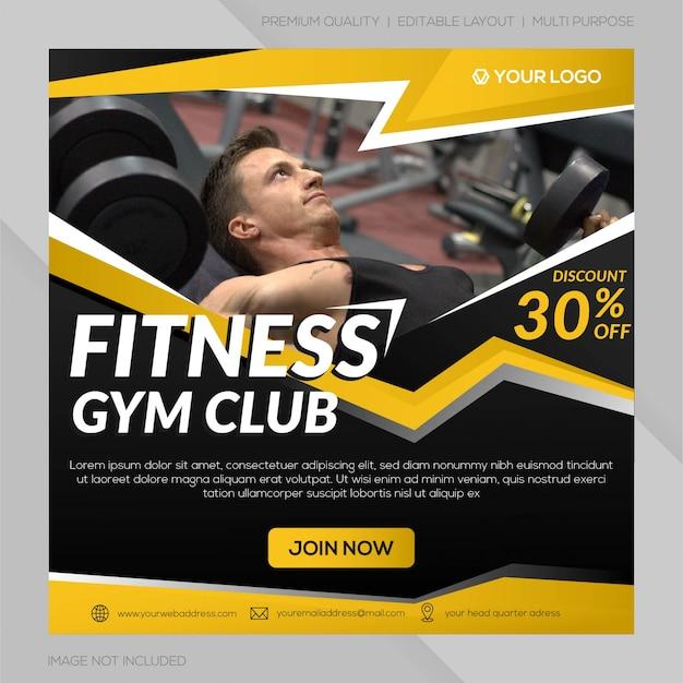 Social-media-post-gym-club-vorlage Premium Vektoren