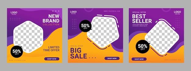 Social media post square banner vorlage werbung Premium Vektoren