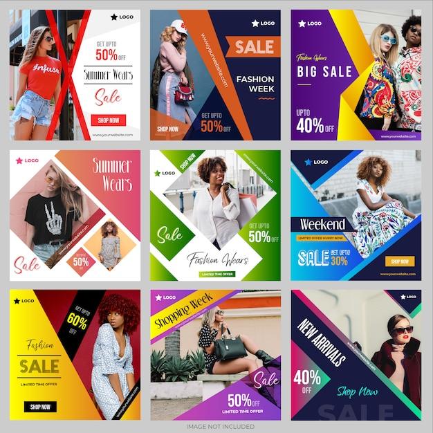 Social media post-vorlagen-sammlung für instagram Premium Vektoren