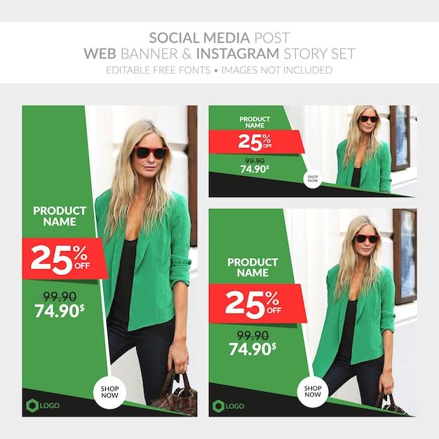 Social media post web banner und instagram story-sammlung Premium Vektoren