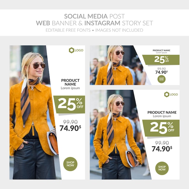 Social-media-post-web-banner und instagram-story-set Premium Vektoren