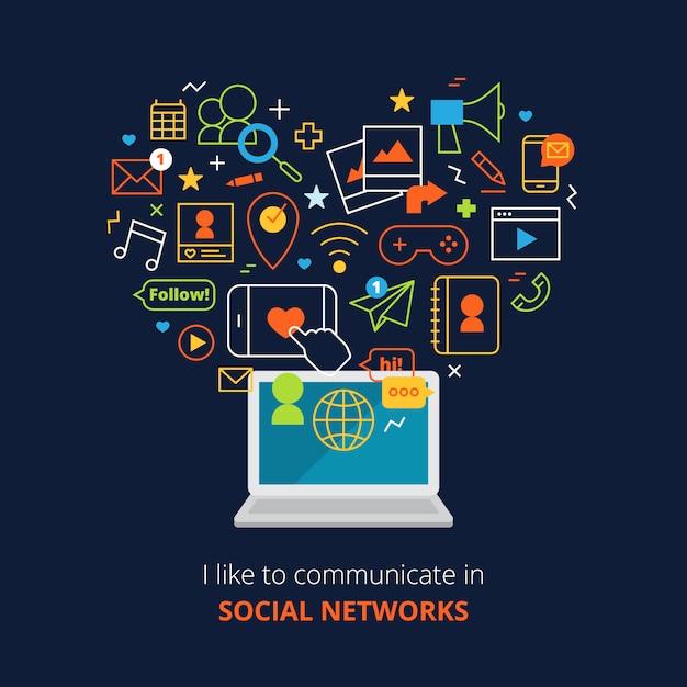 Social media-poster mit computer- und netzlinie abstrakten ikonen eingestellt Kostenlosen Vektoren