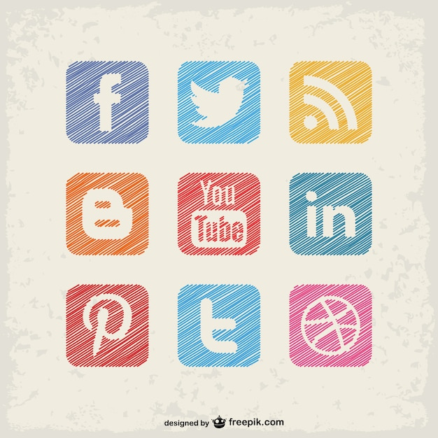 Social-media-quadratischen tasten Kostenlosen Vektoren
