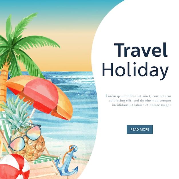 Social media-reise am feiertagssommer das strand palme-ferien-, see- und himmelsonnenlicht Kostenlosen Vektoren