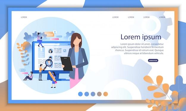 Social media-rekrut online-interview illustration Premium Vektoren