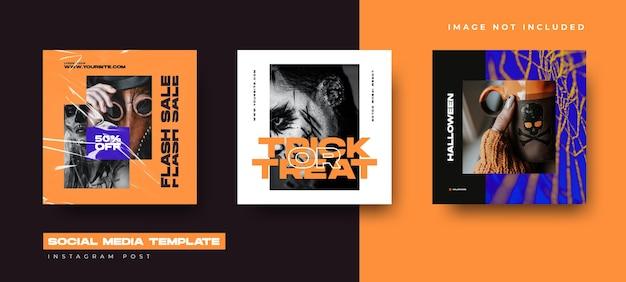 Social media set design vorlage für halloween-event. instagram post design Premium Vektoren