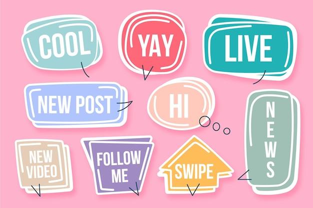 Social media slang blasen konzept Kostenlosen Vektoren