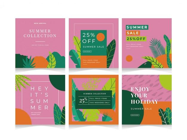 Social media summer sale event-vorlage Premium Vektoren