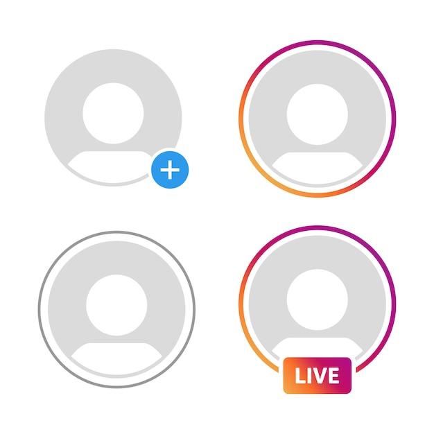Social-media-symbol avatar, geschichten, live-video-streaming Premium Vektoren