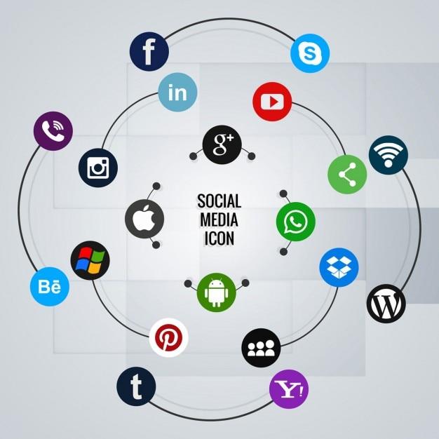 Social-media-symbol hintergrund Kostenlosen Vektoren