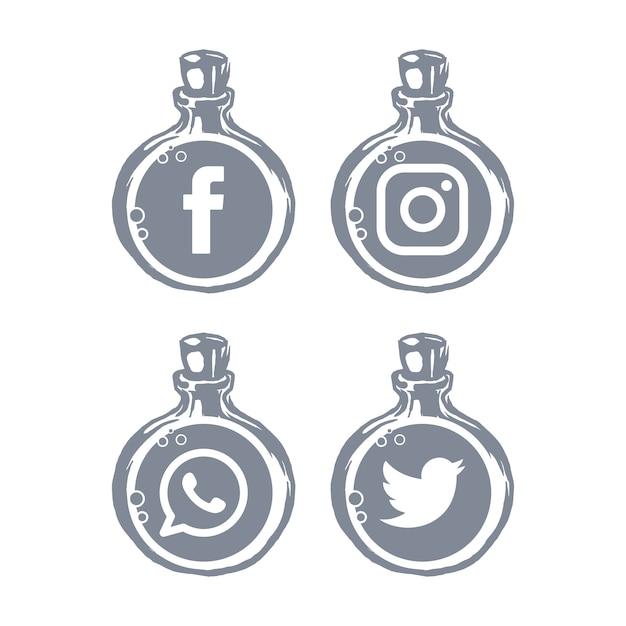 Social media-symbole flaschenvorlage Premium Vektoren