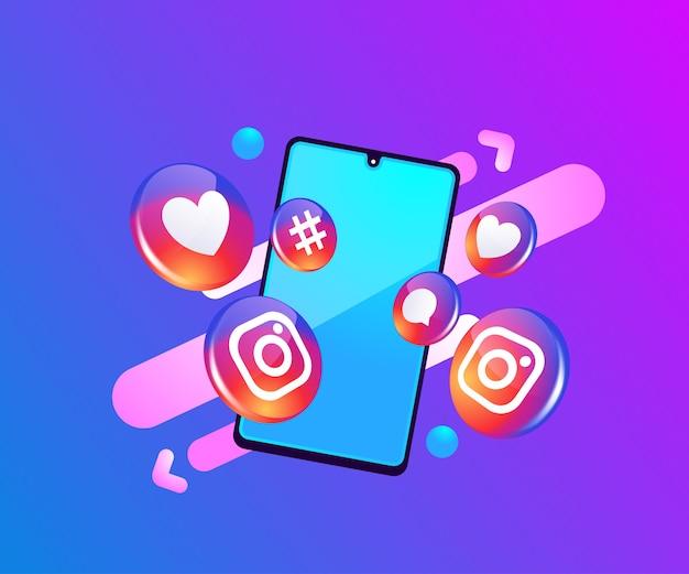 Social-media-symbole von instagram 3d mit smartphone-symbol Premium Vektoren