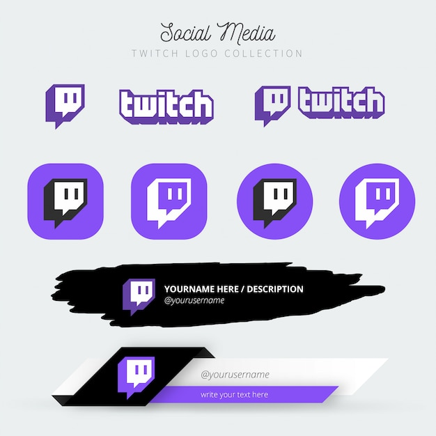 Social media twitch logo collection mit unteren dritteln Kostenlosen Vektoren