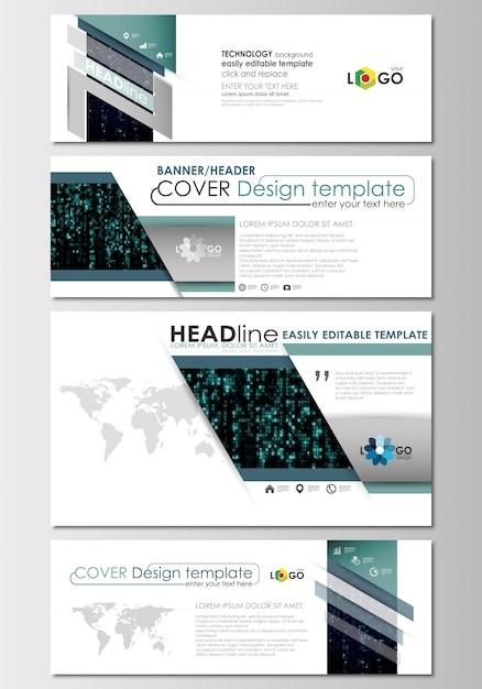 Social media und e-mail-header gesetzt, moderne banner. cover-designvorlage Premium Vektoren