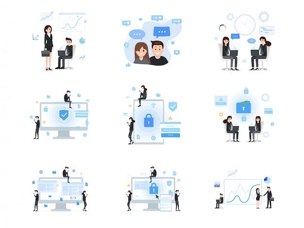 Social media und geschäftskommunikationssatz Premium Vektoren