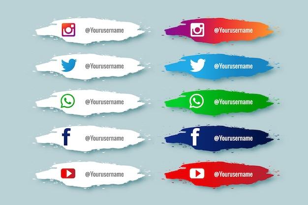 Social media untere dritte sammlung mit paint splash design Kostenlosen Vektoren