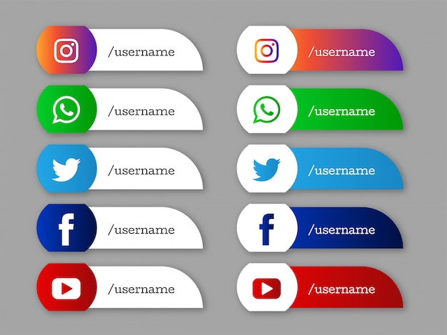 Social media unteren drittel elegante symbole Premium Vektoren