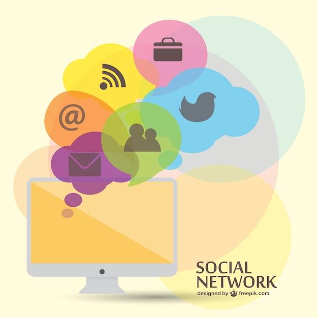 Social-media-vektor-vorlage flach Kostenlosen Vektoren