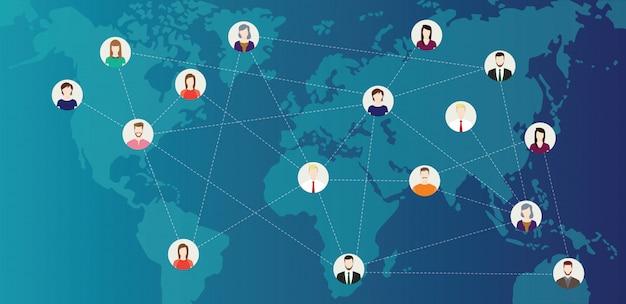 Social-media-welt hat menschen verbunden Premium Vektoren