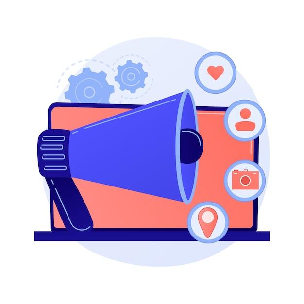 Social media werbung, online werbung, smm. netzwerkankündigung, medieninhalte, follower-aktivitäten und geodaten. internet manager zeichentrickfigur. Kostenlosen Vektoren