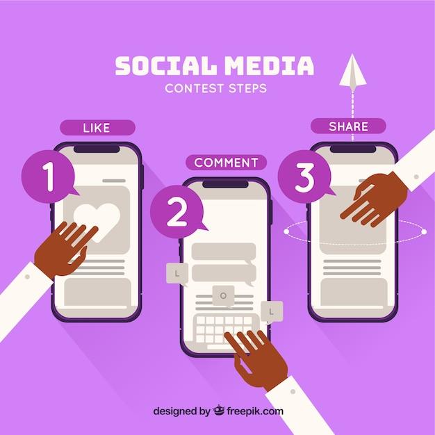 Social-media-wettbewerb-konzept Kostenlosen Vektoren