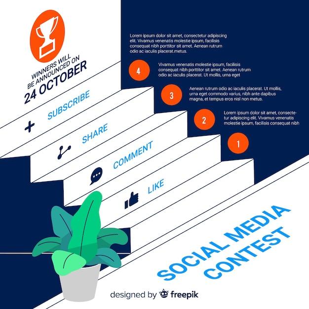 Social media-wettbewerbshintergrund mit schritten Kostenlosen Vektoren