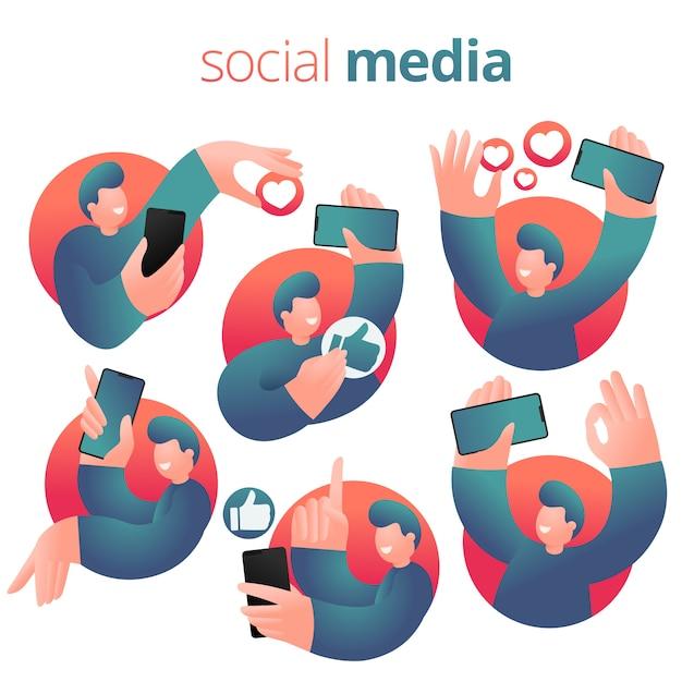 Social networking ausdruck kerl mit smartphone. reihe von icons Premium Vektoren