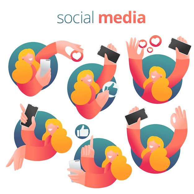 Social networking-ausdruckmädchen mit smartphone. reihe von icons Premium Vektoren