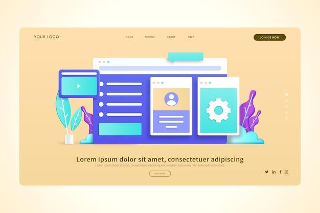 Social online interaktion 3d konzepte landing page Kostenlosen Vektoren