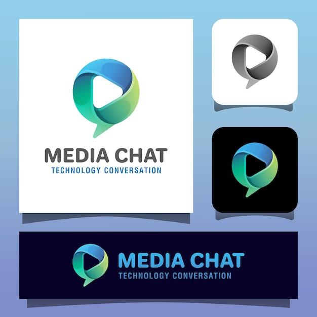 Social talk app vektor logo vorlage. bubble chat mit mediensymbol wiedergabesymbol Premium Vektoren