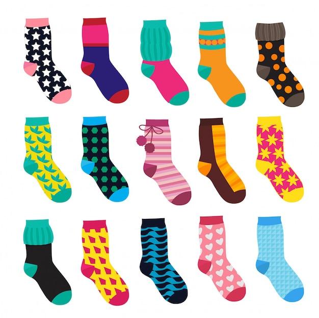 Socken im cartoon-stil. elemente der kinderkleidung. vektorabbildungen isolieren Premium Vektoren