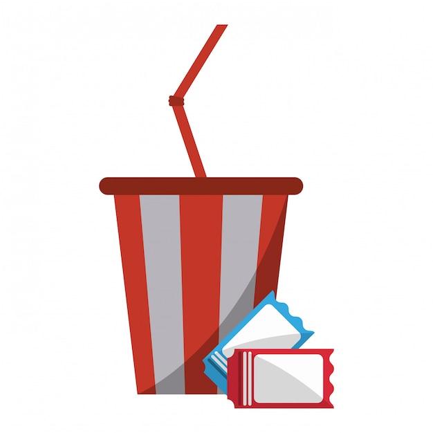 Soda cup und tickets Premium Vektoren