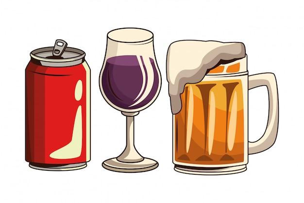 Soda kann bier und cocktail Premium Vektoren