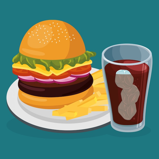 Soda mit amburger fast food Kostenlosen Vektoren