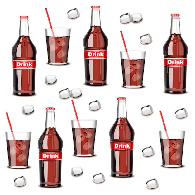 Soda-trinkflasche und glasmuster Premium Vektoren