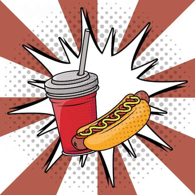 Soda und hot-dog-fast-food-pop-art-stil Kostenlosen Vektoren