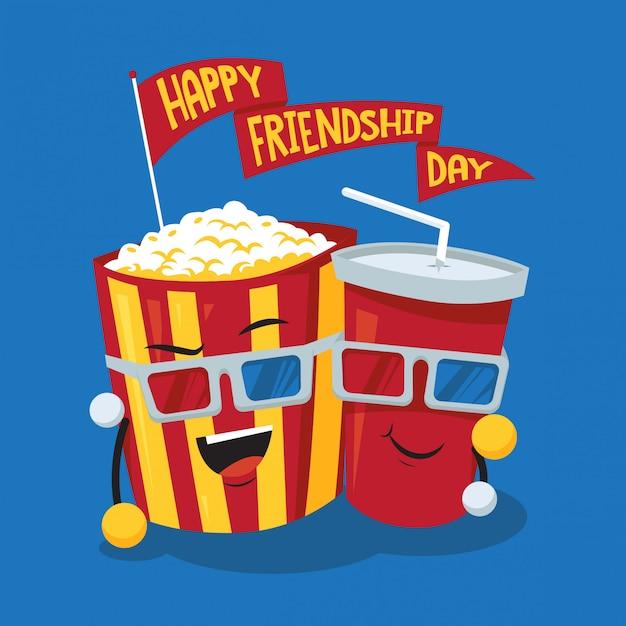 Soda- und popcornfreundschaftstageskonzeptillustration Premium Vektoren