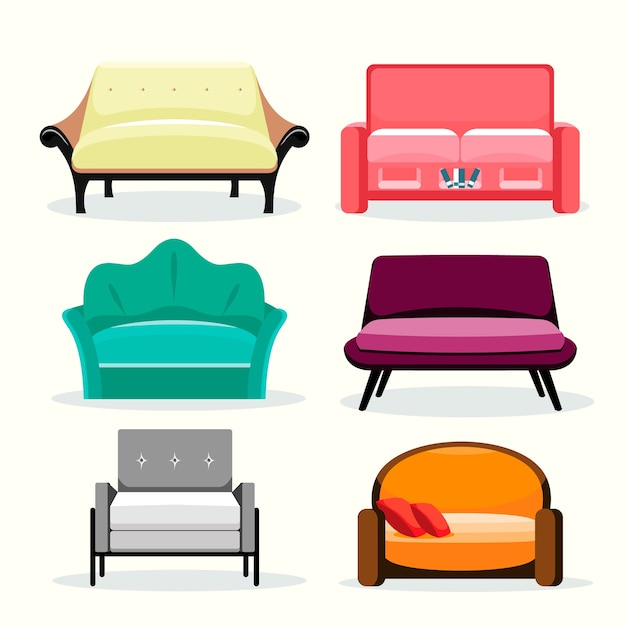 Sofa farbige vektorsammlung Premium Vektoren
