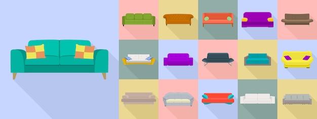 Sofa-icon-set, flachen stil Premium Vektoren