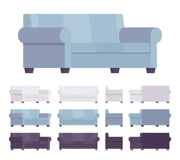 Sofa interieur gesetzt Premium Vektoren