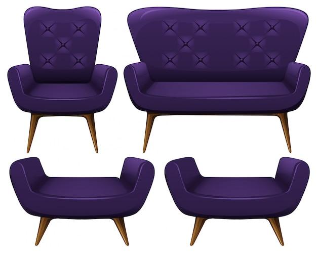 Sofa und stühle in lila illustration Kostenlosen Vektoren