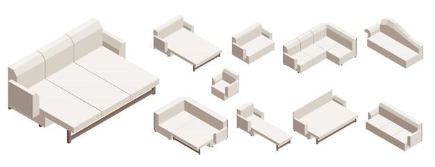Sofaikonensatz, isometrische art Premium Vektoren
