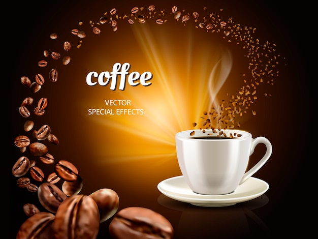 Sofortige kaffeeillustration mit gefüllter kaffeetasse und unzähligen kaffeebohnen, illustration Premium Vektoren