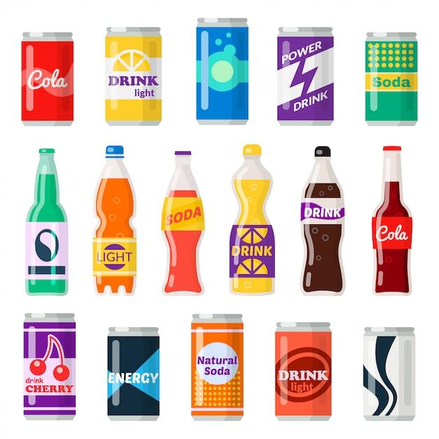 Softdrinkflaschen Premium Vektoren