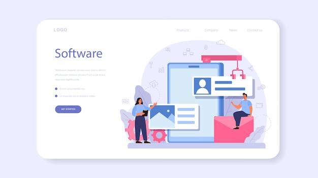 Software-entwickler-webbanner oder zielseite. idee der programmierung und codierung, systementwicklung. digitale technologie. softwareentwicklungsunternehmen, das code schreibt. ich Premium Vektoren