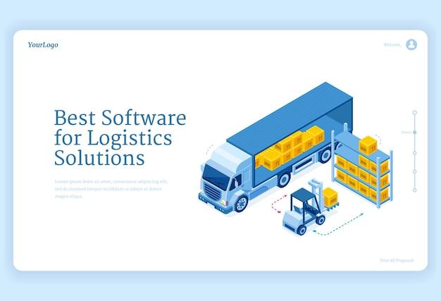 Software für logistiklösungen isometrische landingpage Kostenlosen Vektoren