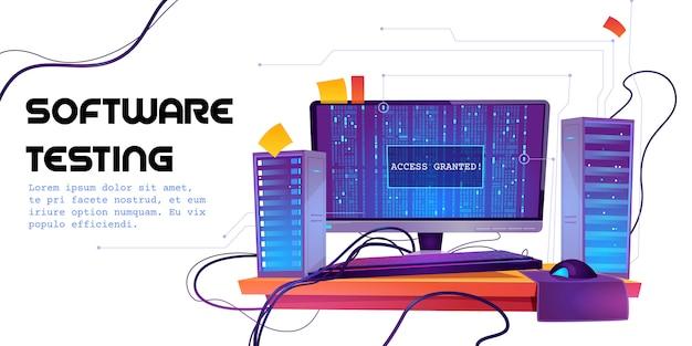 Software-test-cartoon-banner. funktionstest, programmiermethode, suchfehler und -fehler, entwicklung der website-plattform, optimierung der dashboard-benutzerfreundlichkeit für die abbildung von computer-pcs Kostenlosen Vektoren